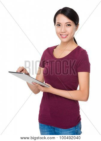 Woman use of the digital tablet pc