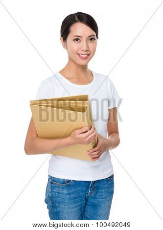 Young woman hold with folder
