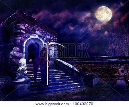 Grim Reaper in hooded cloak. Halloween horror.