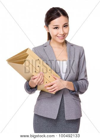 Young Businesswoman hold with folder