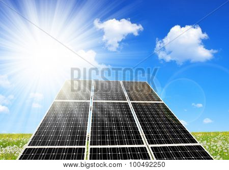 Solar energy panels against sunny sky. Alternative energy.
