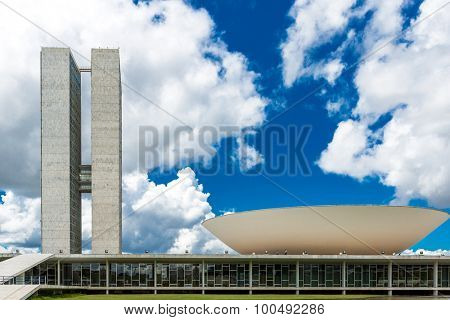 BRASILIA, BRAZIL - CIRCA MARCH 2015: Brazilian National Congress in Brasilia, Brazil