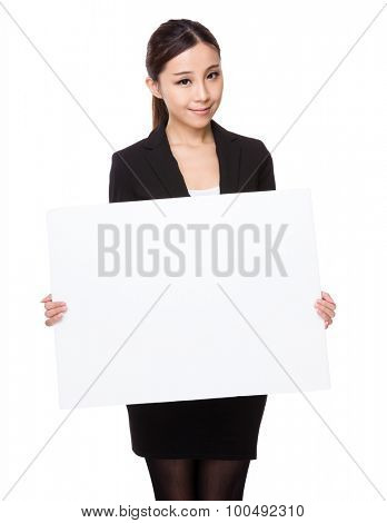 Asian young businesswoman show with white board