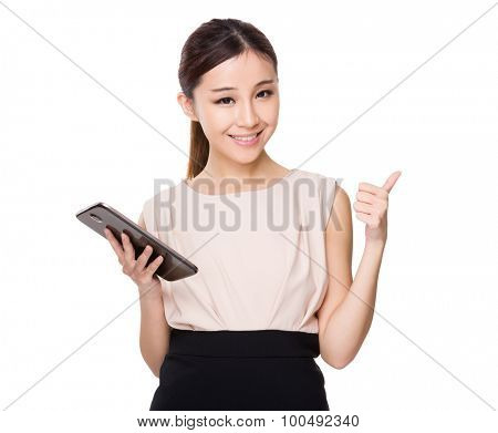 Young Businesswoman hold with digital tablet and thumb up