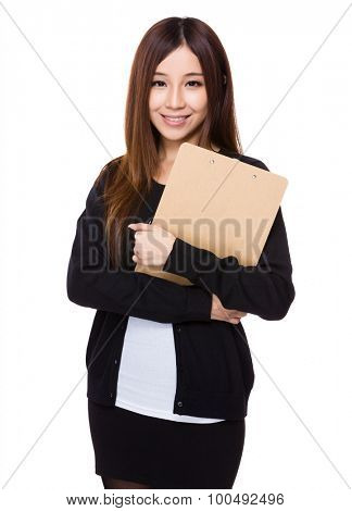 Asian young woman with file board
