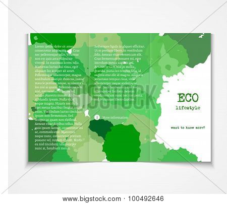 Watercolor styled painted background design, ecology event brochure template flyer layout. Vector il