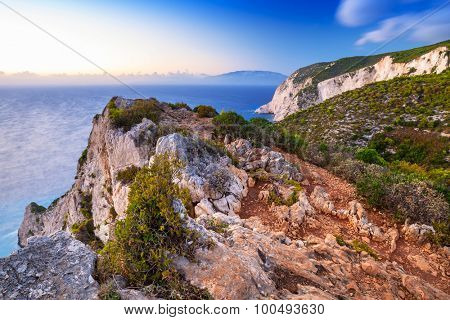 Amazing cliffs of Zakynthos Island at sunset, Greece