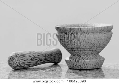 Pestle and mortar made of coconut tree