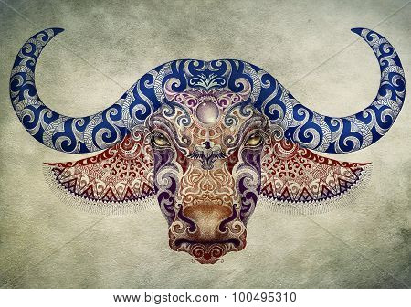 Tattoo, Bull, Buffalo Head With Horns