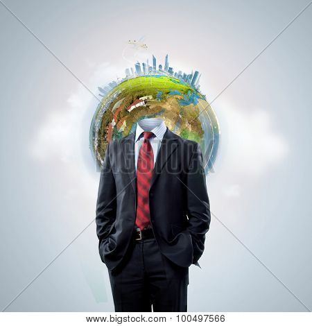 Business man with globe for head. Elements of this image are furnished by NASA