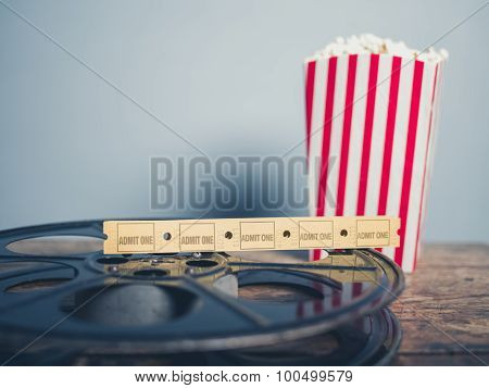 Old Film Reel, Popcorn And Tickets