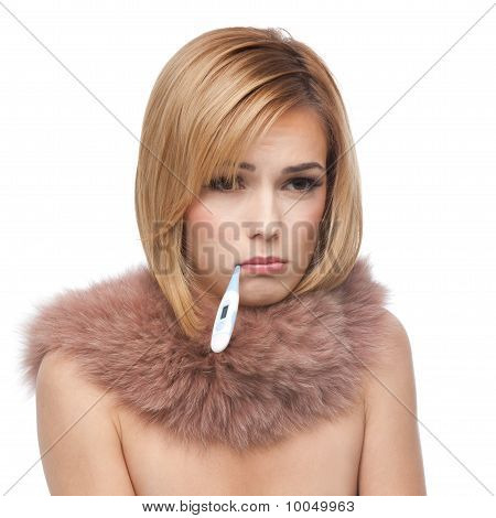 Young Blonde Woman Being Ill And Sad, With Pink Fur Collar
