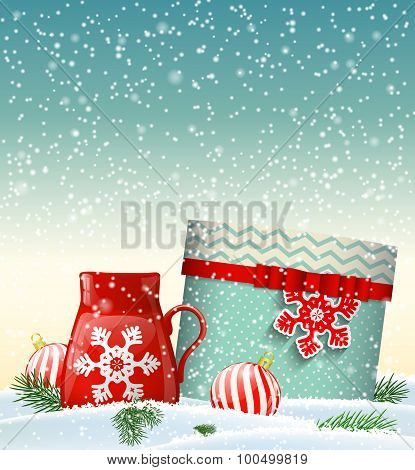 Cristmas greeting card with giftbox and red teacup, winter theme, illustration
