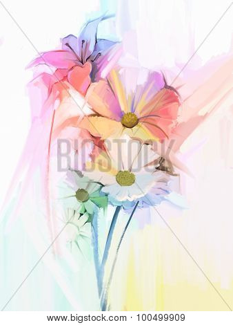 Oil Painting Still life of white color flowers with soft pink and purple