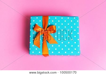 Gift on a pink background