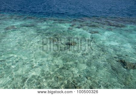 Transparent Water Of The Indian Ocean On A Clear Day