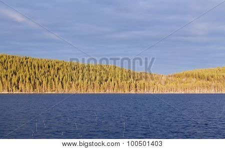 Last light over a forest across a lake.