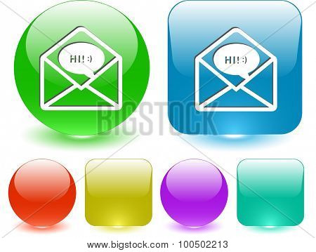 open mail with chat. Vector interface element.