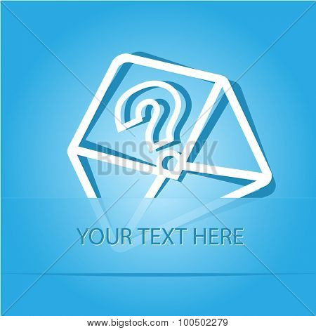 open mail with query sign. Paper sticker as bookmark. Vector illustration. Eps10.