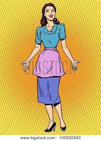 Friendly housewife beautiful woman retro style pop art