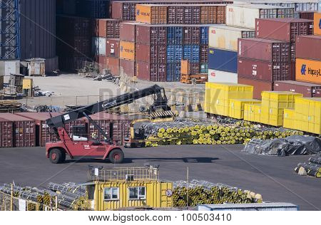 Container Loader At The Container Terminal In Port.