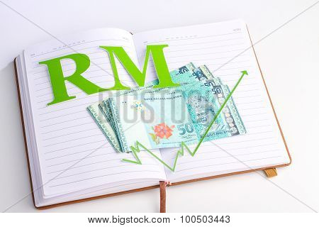 Money, Sign With Notebook