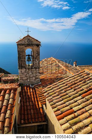 Red Roof Chapel Cross With Mediterranean Sea View At The French Riviera