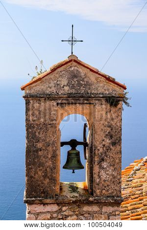 Red Roof Chapel Cross With Mediterranean Sea View At The French Riviera.
