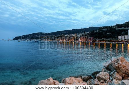 Evening View Of Villefranche Sur Mer In The French Riviera