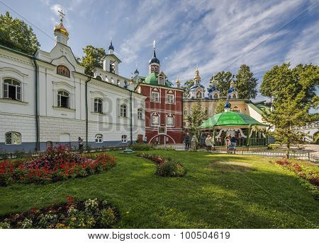 Dormition Pskov-caves Monastery. Church Of The Annunciation And The Church Of The Holy Virgin.