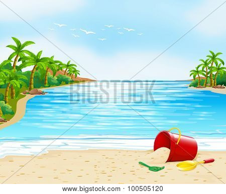 Ocean view with bucket on the sand illustration