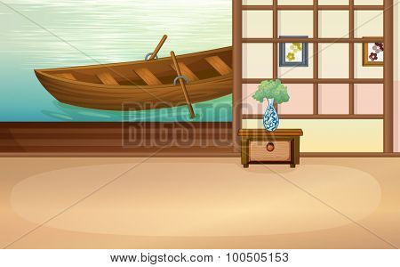 Rowboat floating outside the house illustration
