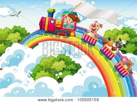 Girl and animals on the train illustration