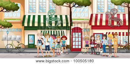 People hanging out on the sidewalk by the shop illustration