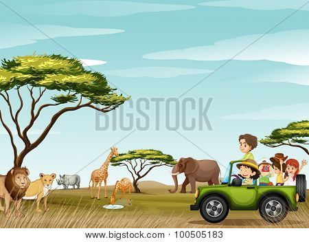 Roadtrip in the field full of animals illustration