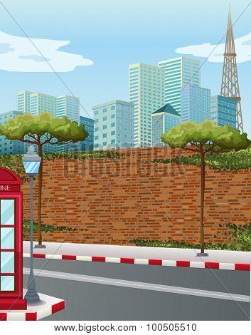Street corner in the city illustration