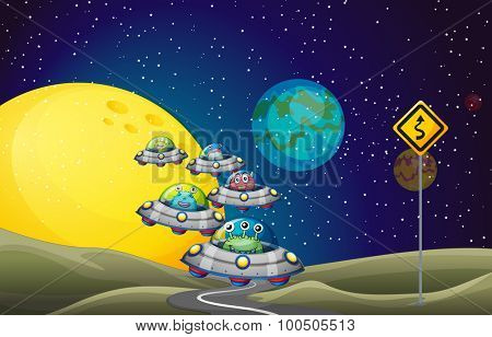Aliens flying UFO in the space illustration