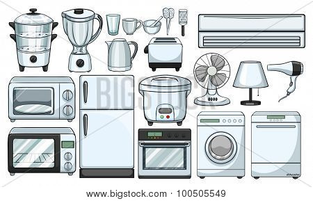 Electronic devices used in the kitchen illustration