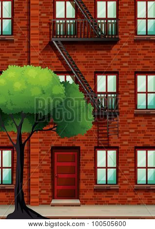 Fire escape on the apartment building illustration
