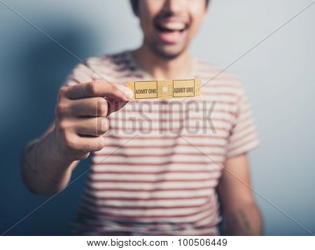 Happy Man With Two Cinema Tickets