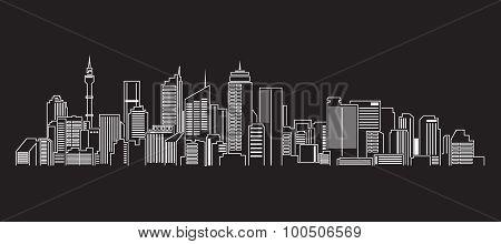 Cityscape Building Line art Vector Illustration design (Sydney)