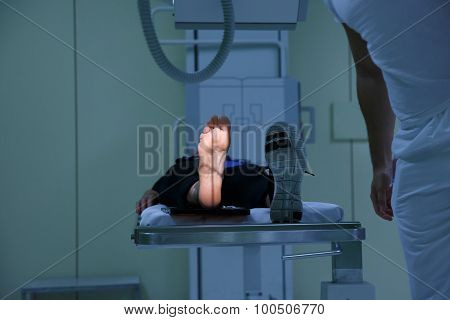 X-ray Picture Of A Womans Sole Being Taken