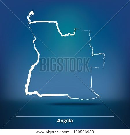 Doodle Map of Angola - vector illustration