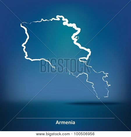 Doodle Map of Armenia - vector illustration