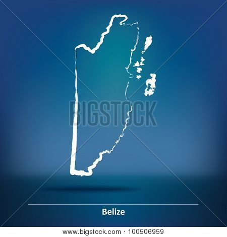 Doodle Map of Belize - vector illustration