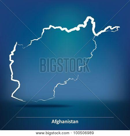 Doodle Map of Afghanistan - vector illustration