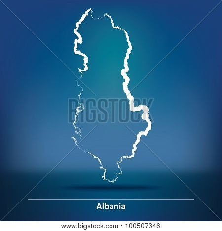 Doodle Map of Albania - vector illustration