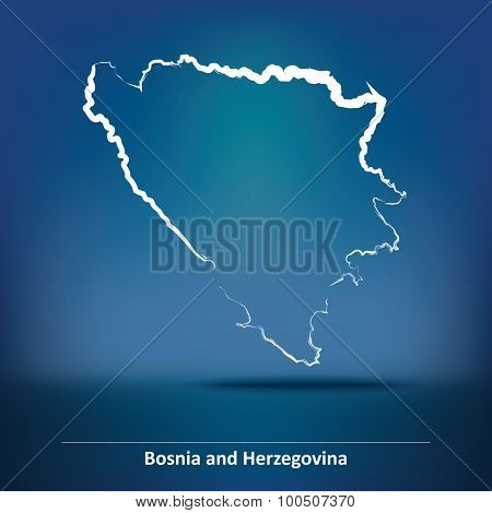 Doodle Map of Bosnia and Herzegovina - vector illustration