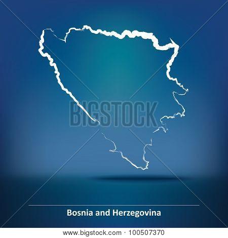 Doodle Map of Bosnia and Herzegovina - vector illustration