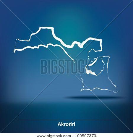 Doodle Map of Akrotiri - vector illustration